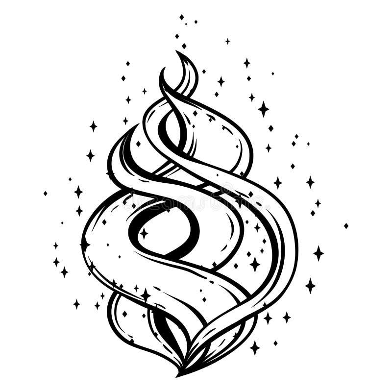 Magia ogień z gwiazdami ilustracja wektor