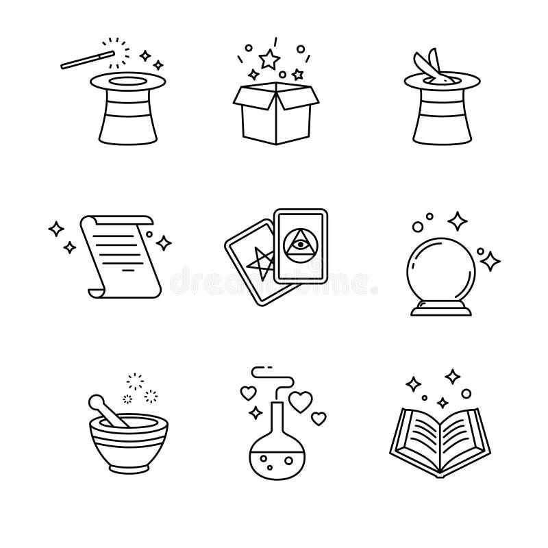 Magia y herramientas del mago Línea fina iconos del arte fijados stock de ilustración