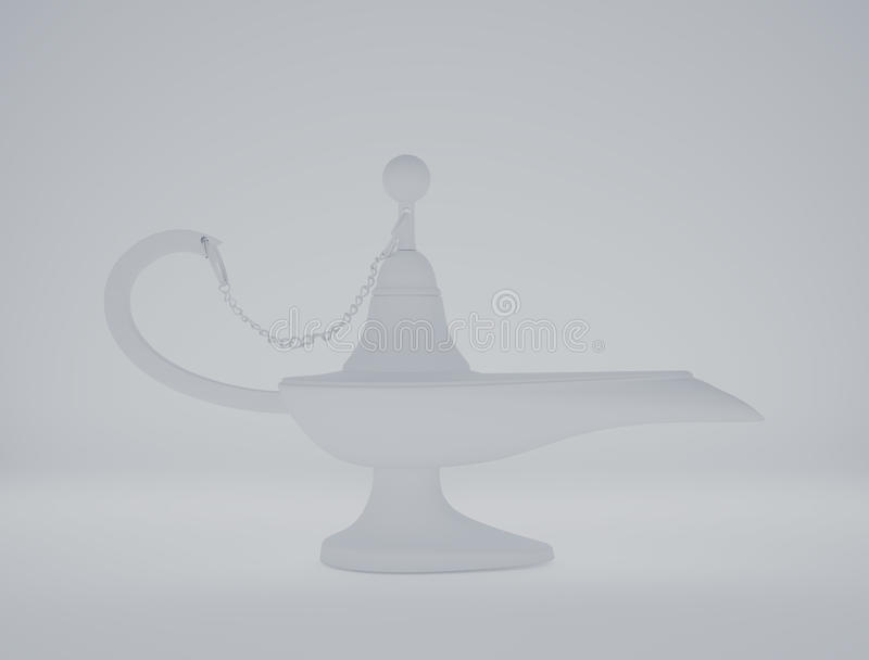 Magic Aladdin Lamp clay rendering on a white background. The magic aladdin lamp 3d clay rendering stock illustration