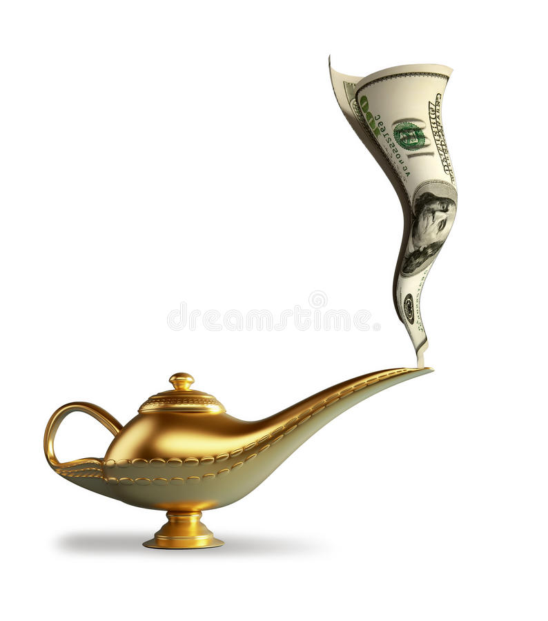 Magic Alladin lamp stock illustration