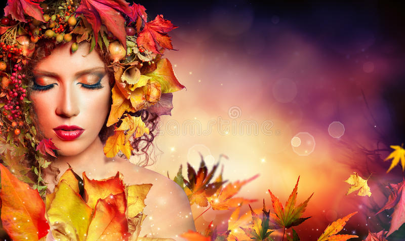 Magic autumn woman stock photography