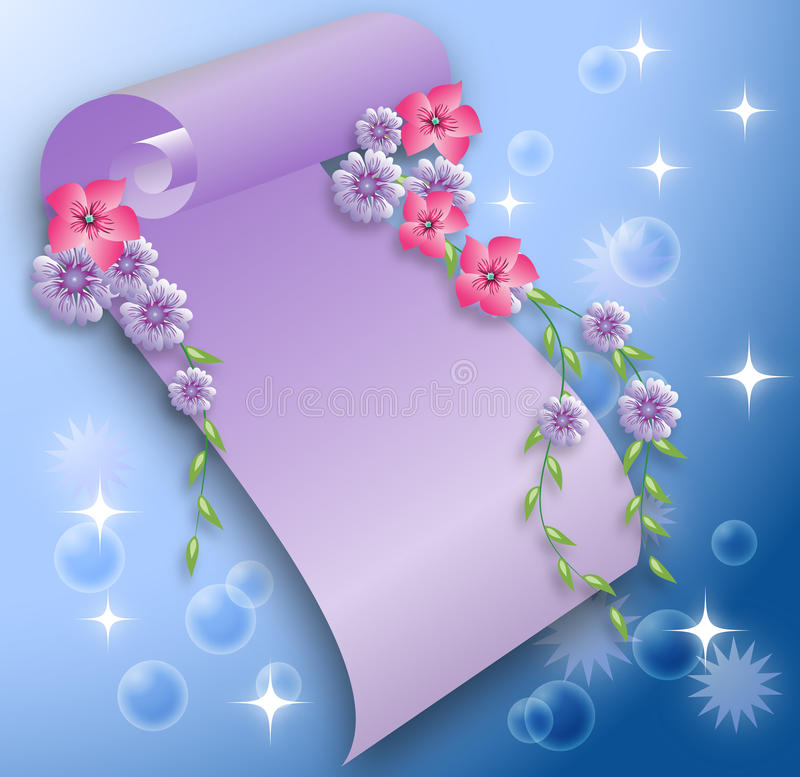 Magic background with scroll stock illustration