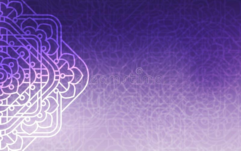 Magic background. Ultra violet background with beautiful square ornaments, mandala. stock illustration