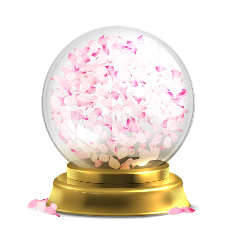 Magic ball with pink petals vector isoated on white backround royalty free illustration