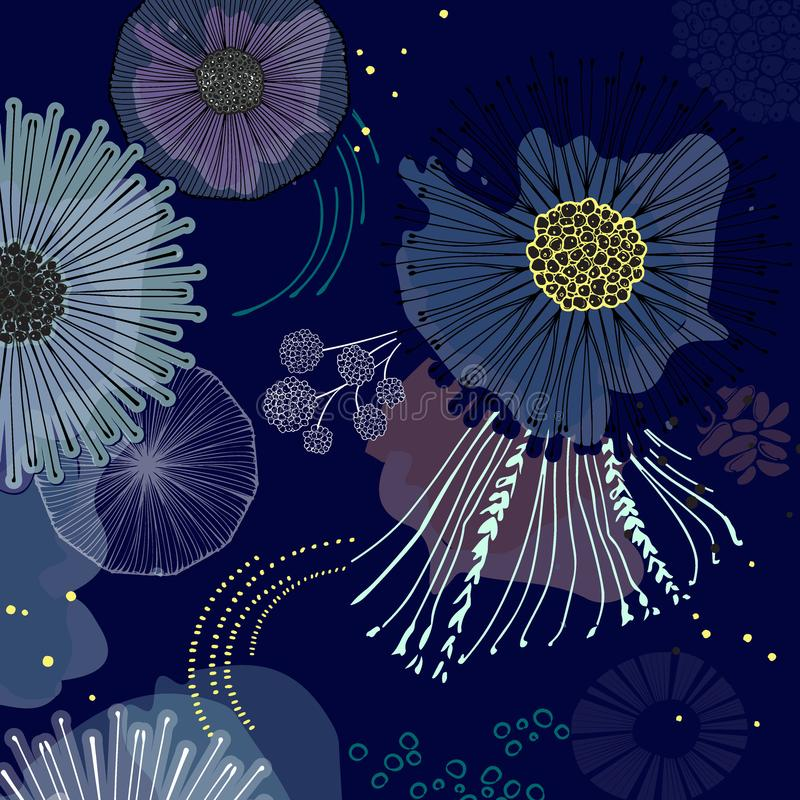 Magic bloom flowers blossom on navy background. Modern contrast abstract design for paper, cover, fabric, interior decor royalty free illustration