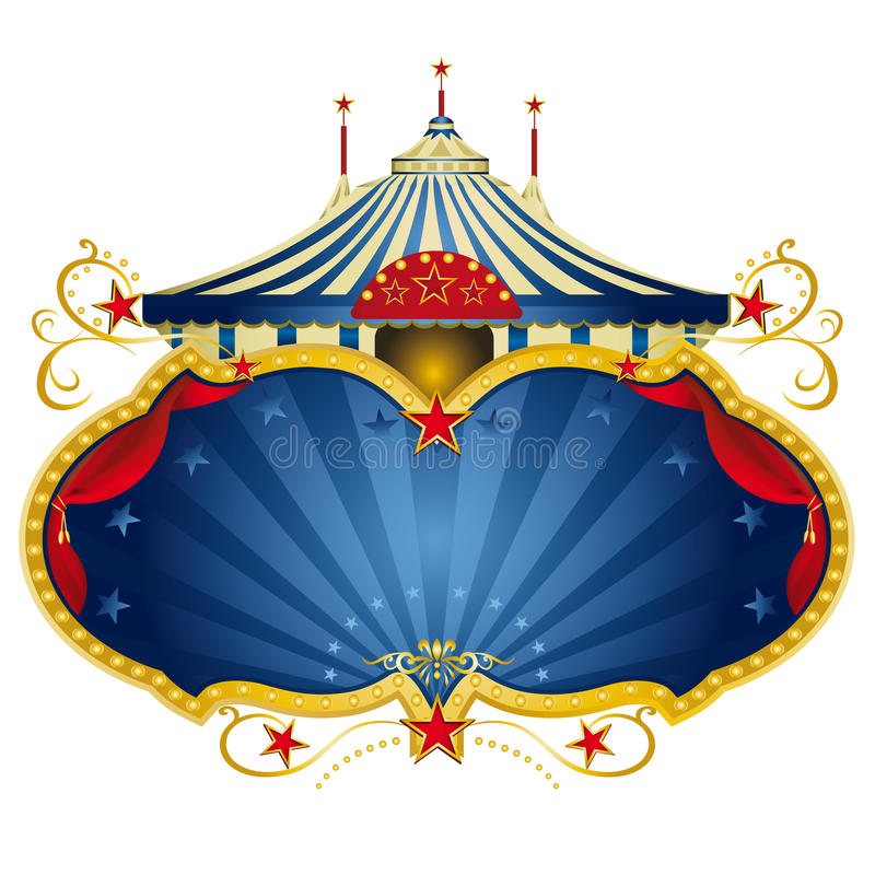 Magic blue circus frame. A circus frame with a big top and a large copy space with curtains for your message