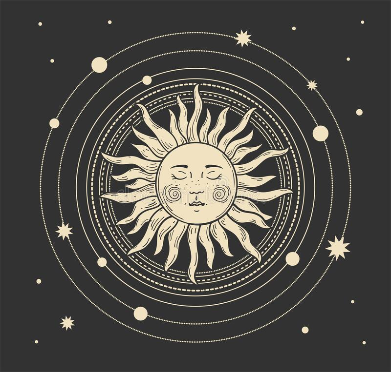 Free Magic Boho Card Of The Sun. Heavenly Tattoo For Astrology With The Heavens And The Stars. Bohemian Hand Drawing, Vintage Art For Stock Photo - 212010420