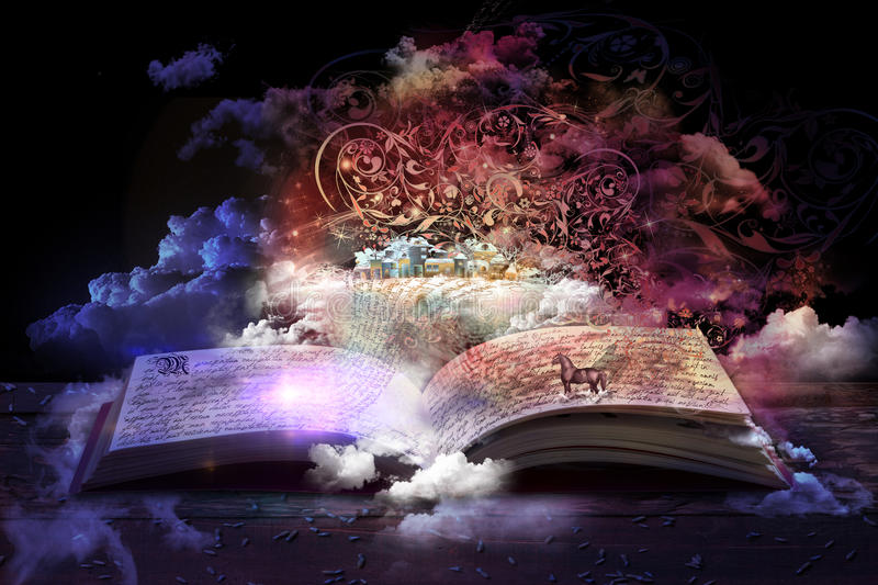 Magic Book. Open magic book, stories and educational stories floating stock photo