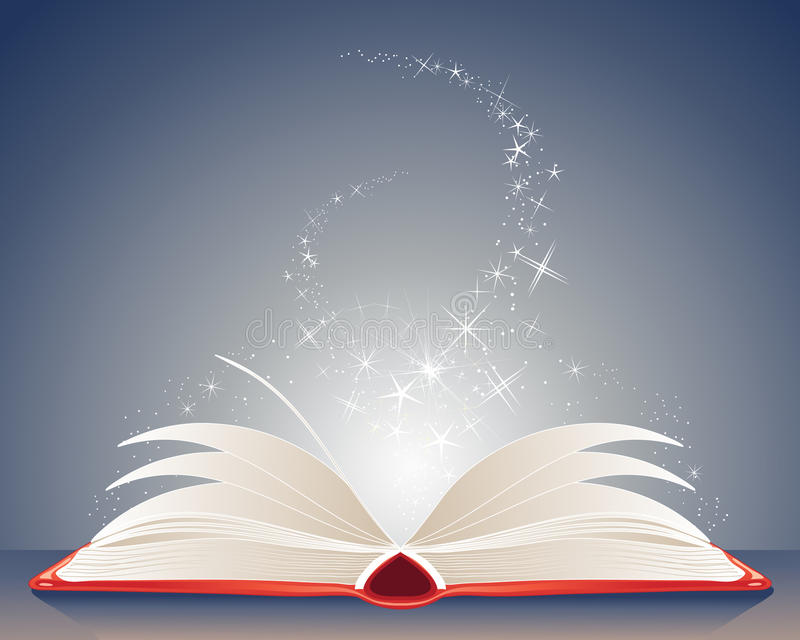 Magic book. An illustration of a bright red magic book of spells open on a table with stars and sparkles on a dark blue background