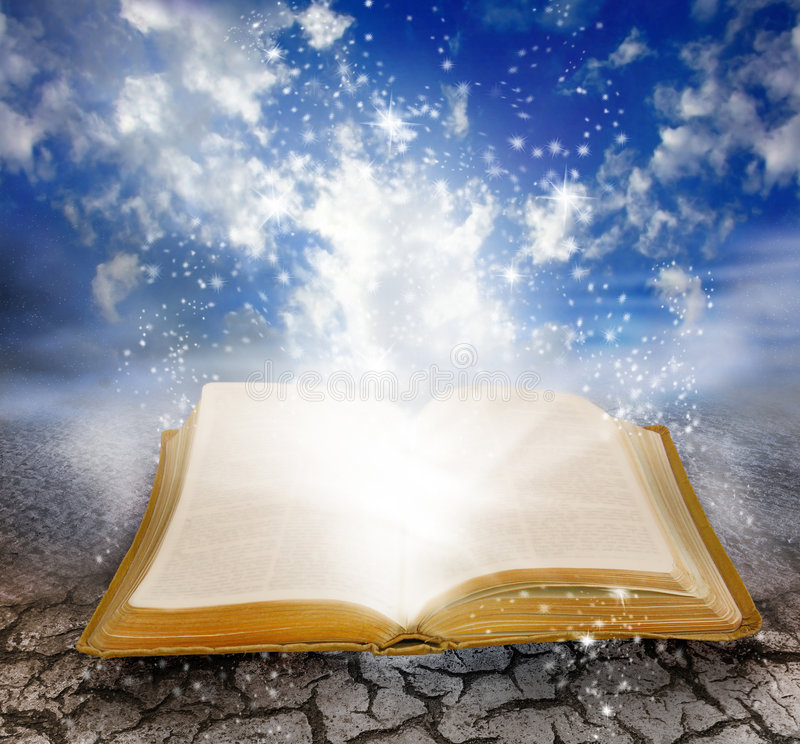 Magic book. A golden book of knowledge lies open with stars rising from the covers and lifting the book from the cracked surface. Clouds serve as a background