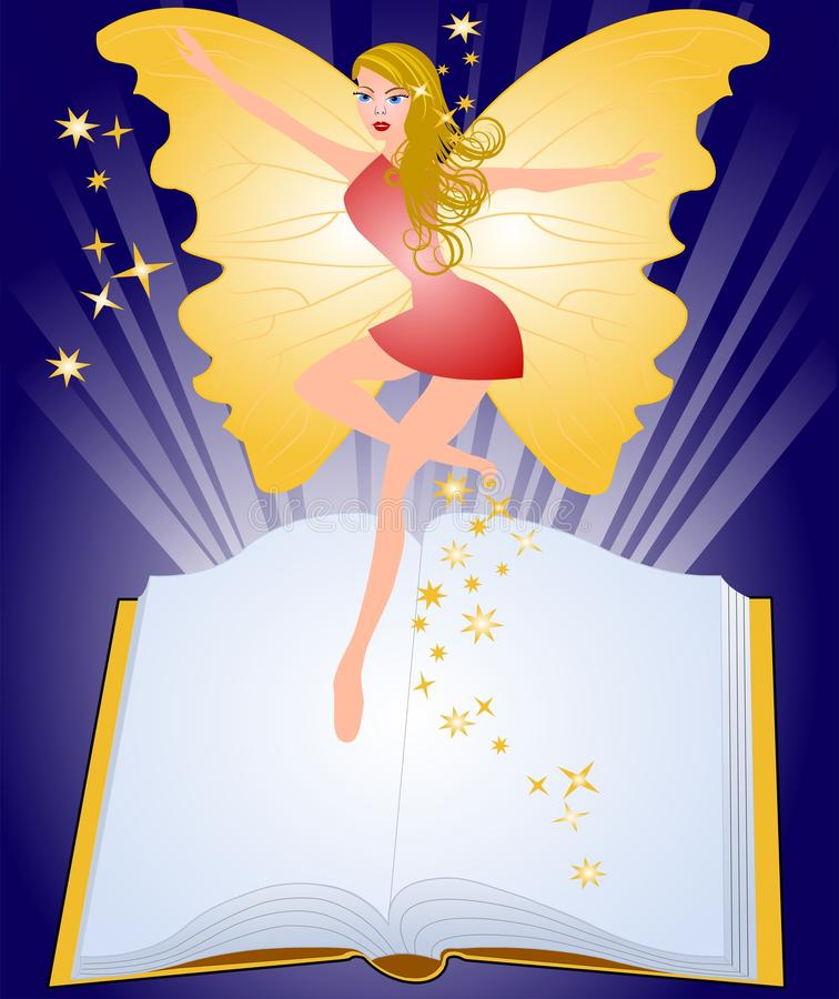 Magic book and fairy. Open fairytale book and fairy flying above pages royalty free illustration