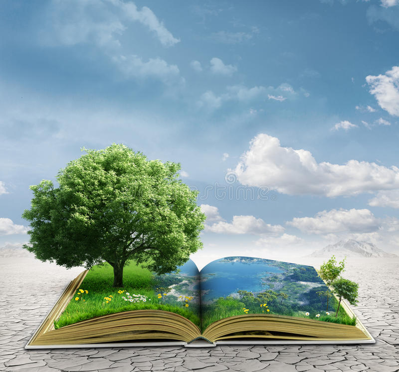 Magic book. With a landscape royalty free stock images