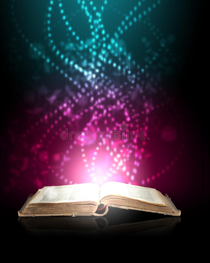 Magic book. With light coming from inside it stock illustration