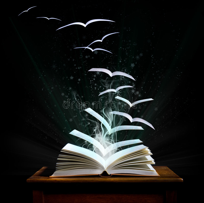 Download Magic Book With Pages Transforming Into Birds Stock Photo - Image: 9251320