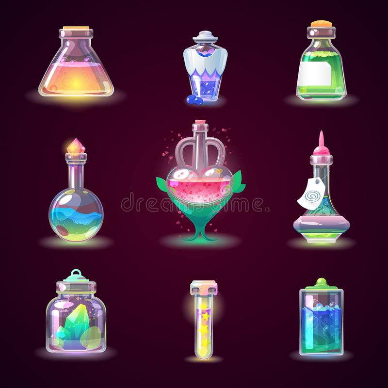 Free Magic Bottle Vector Magical Game Potion In Glass Or Liquid Poison Drink Of Alchemy Or Chemistry Illustration Set Of Royalty Free Stock Images - 116084639