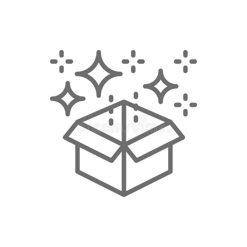 Magic box with confetti, gift line icon. stock illustration