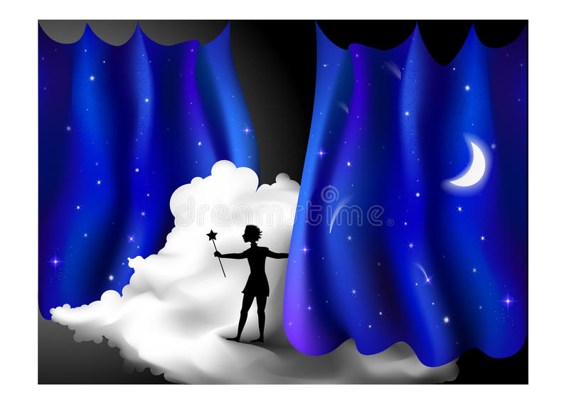 Magic. Boy standing on the cloud behind the night blue curtain, fairy night, peter pan holding star, silhouette vector illustration
