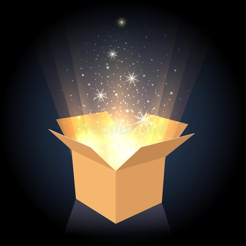 Magic cardboard box with light royalty free illustration