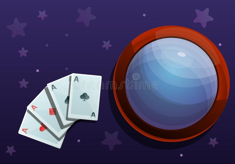 Magic cards concept banner, cartoon style royalty free illustration