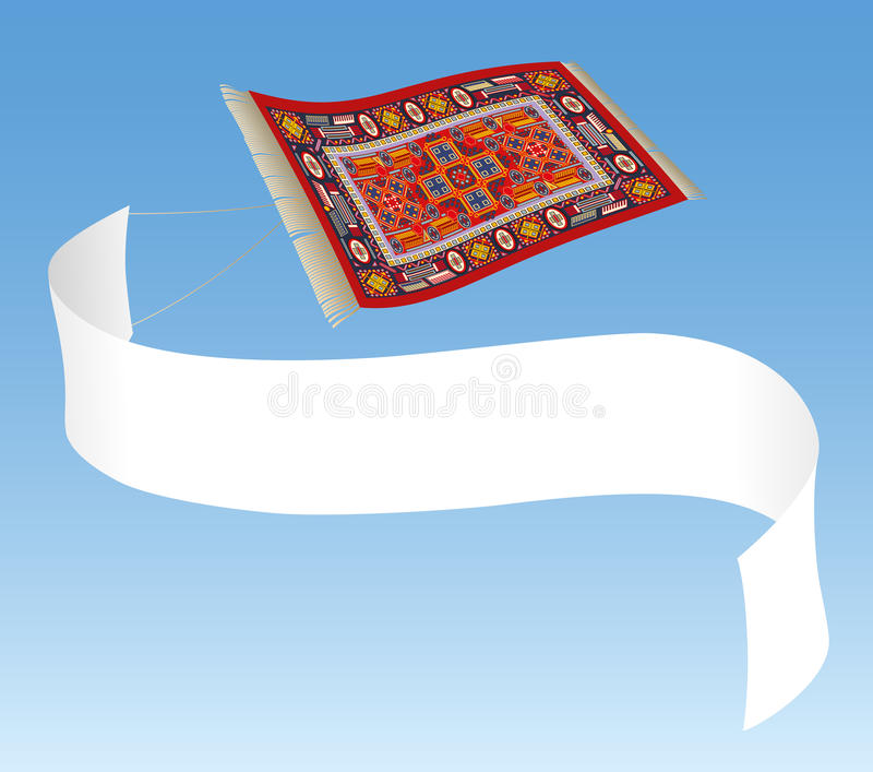 Magic Carpet with Banner royalty free illustration