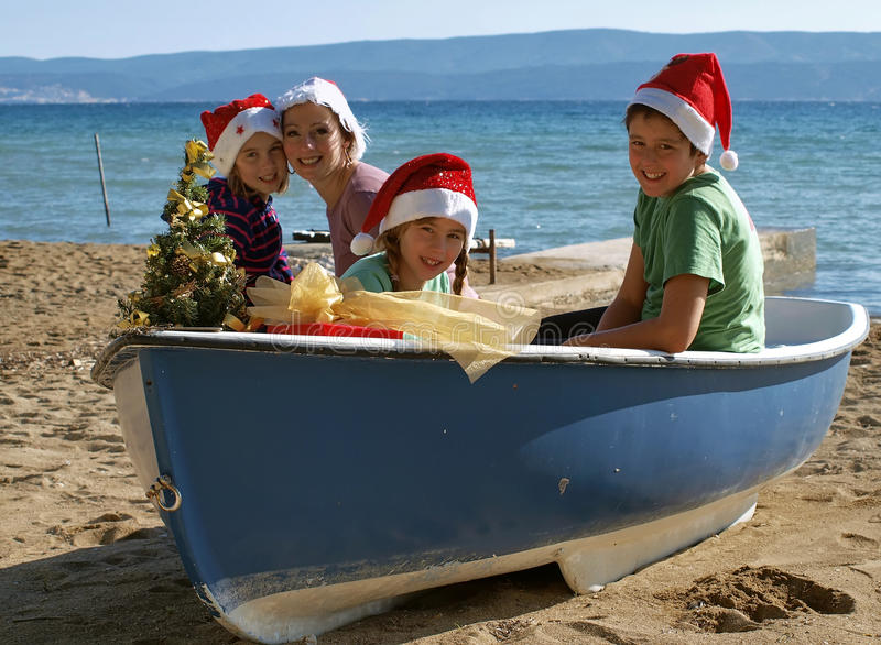Magic Christmas on boat stock photo