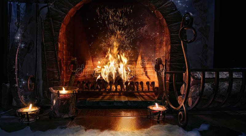 Magic Christmas fireplace. royalty free stock photo