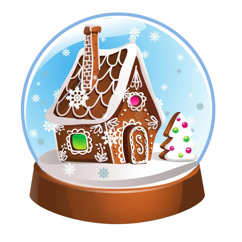 Magic Christmas snow globe illustration. Glass snowglobe gift with small house, winter pine tree and falling snow inside royalty free illustration