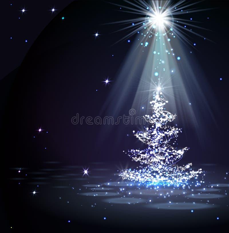 The Magic Christmas Tree in spotlight vector illustration