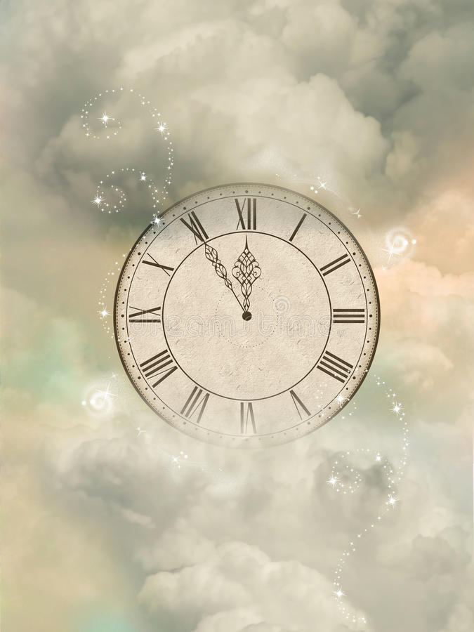 Download Magic clock stock illustration. Image of clouds, flowers - 19634472