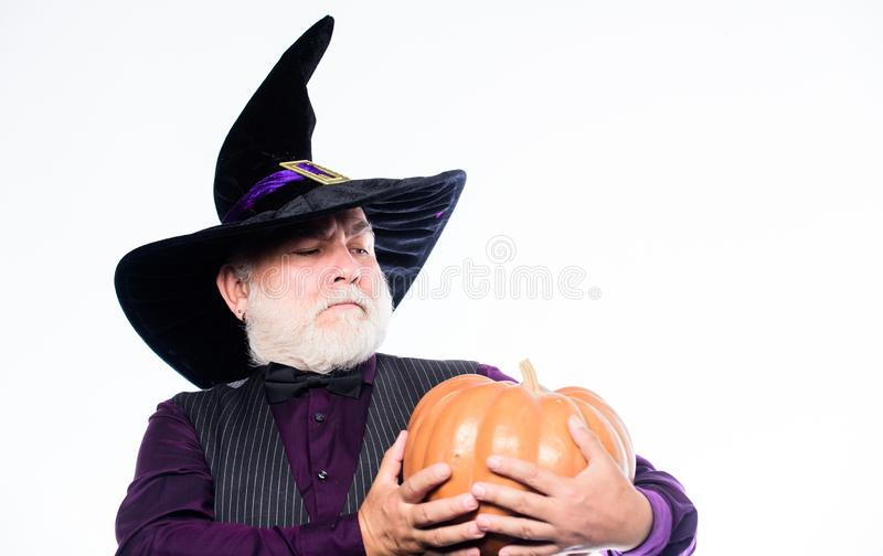 Magic concept. Experienced and wise. Halloween tradition. Cosplay outfit. Wizard costume hat Halloween party. Magician stock images
