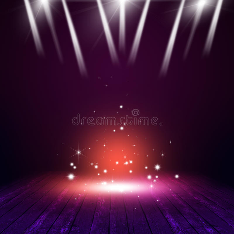 Magic on Concert Stage. Magic concert background with multicolor lights on the stage vector illustration