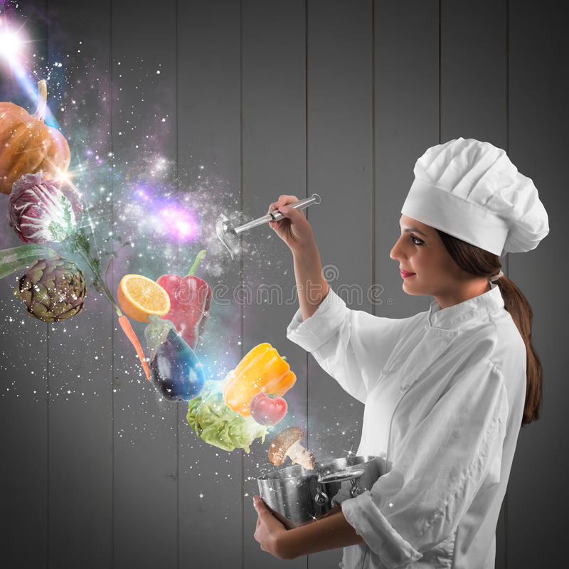 Magic in cooking royalty free stock image