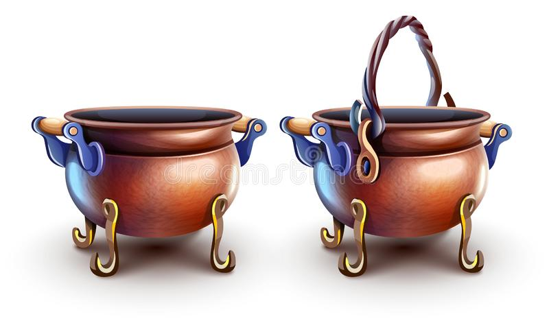 Magic copper pots for cooking food. Vector illustration. stock photography