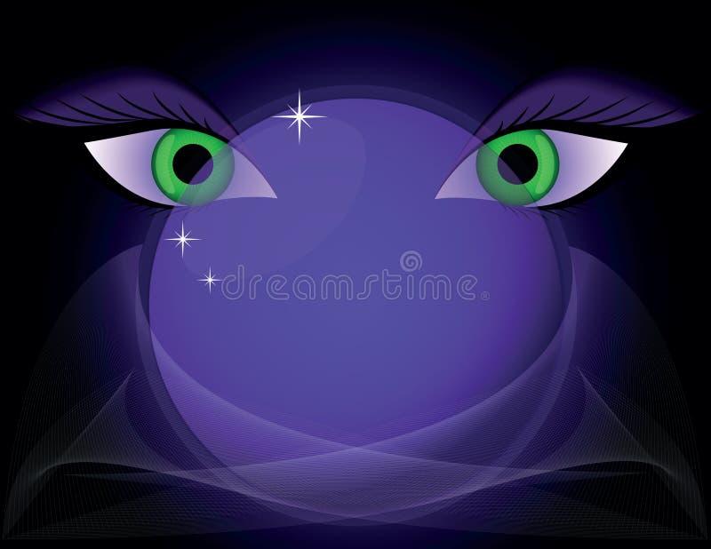 Magic crystal ball and eyes stock illustration