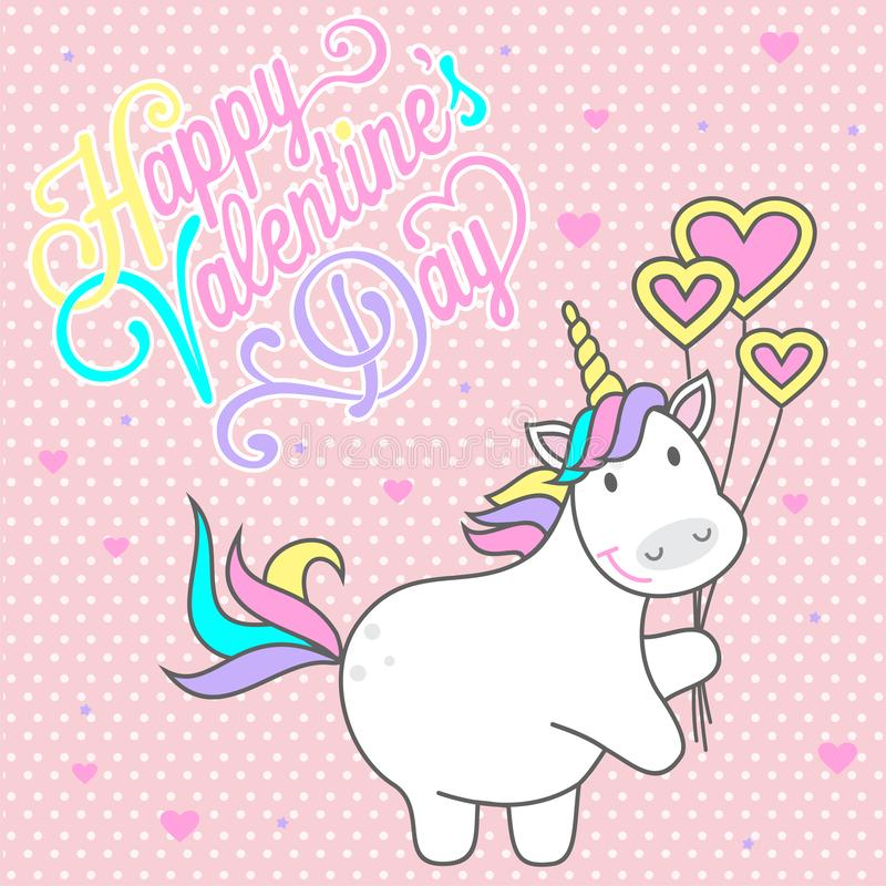 Magic cute unicorn with balls in the form of heart, greeting card with the inscription to the Valentine`s Day, flat vector illustr. Ation isolated on white stock illustration