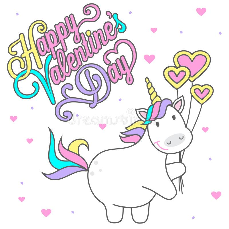 Magic cute unicorn with balls in the form of heart, greeting card with the inscription to the Valentine`s Day, flat vector illustr. Ation isolated on white royalty free illustration
