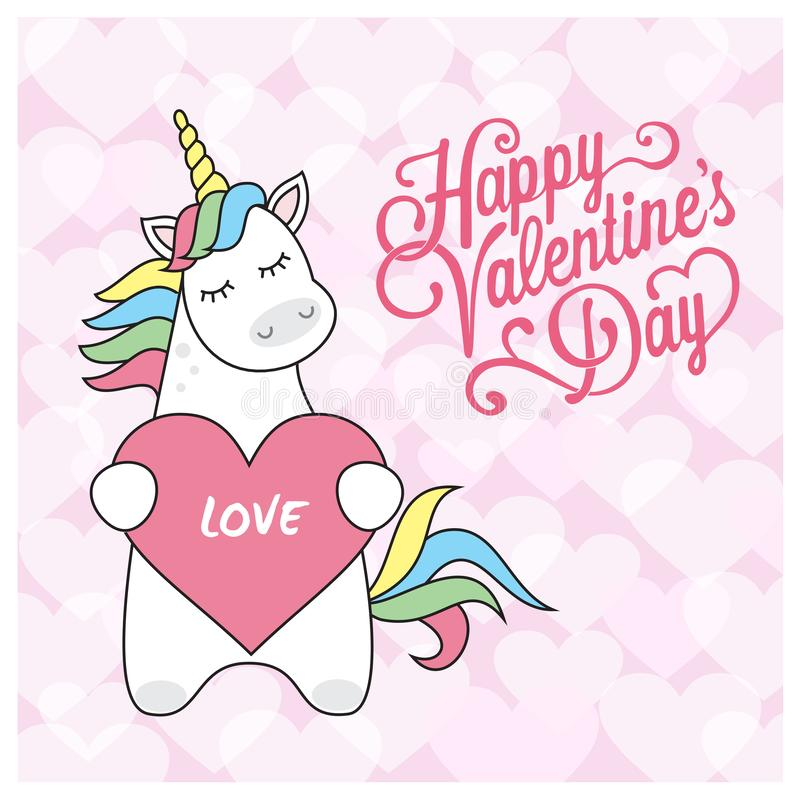 Magic cute unicorn with balls in the form of heart, greeting card with the inscription to the Valentine`s Day, flat vector illustr. Ation isolated on white vector illustration