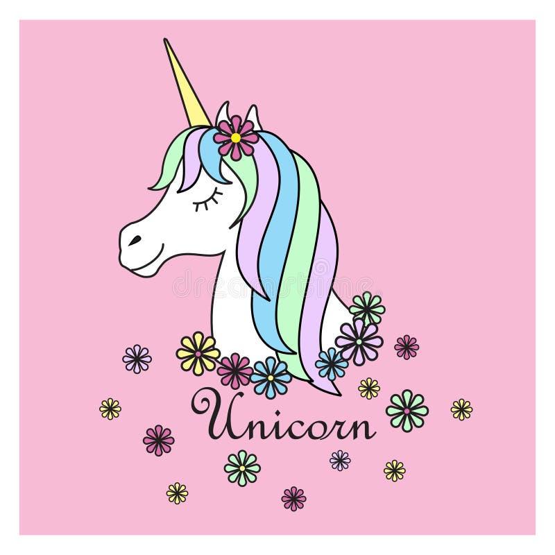 Magic cute unicorn poster, greeting card, illustration.Cute magic cartoon fantasy cute animal. Rainbow hair. Dream symbol. Design for children,cartoon design royalty free illustration