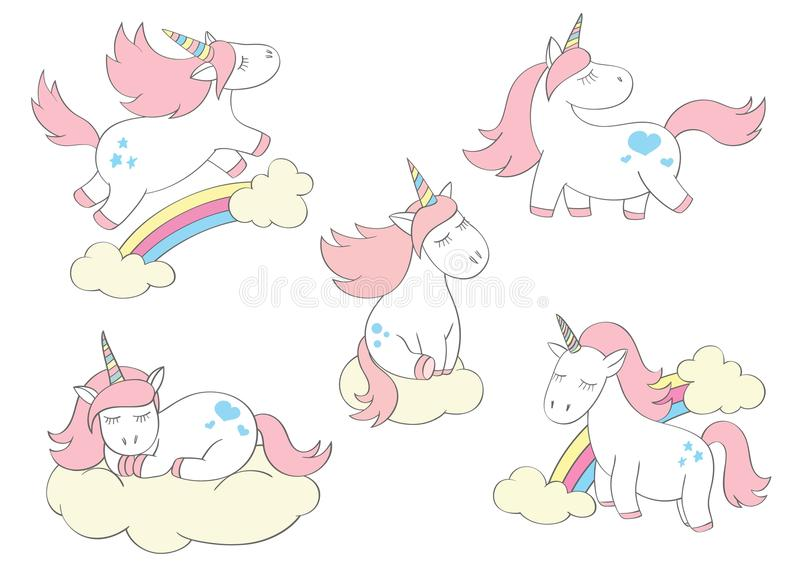 Magic cute unicorns set in cartoon style. Doodle unicorns for cards, posters, t-shirt prints royalty free illustration