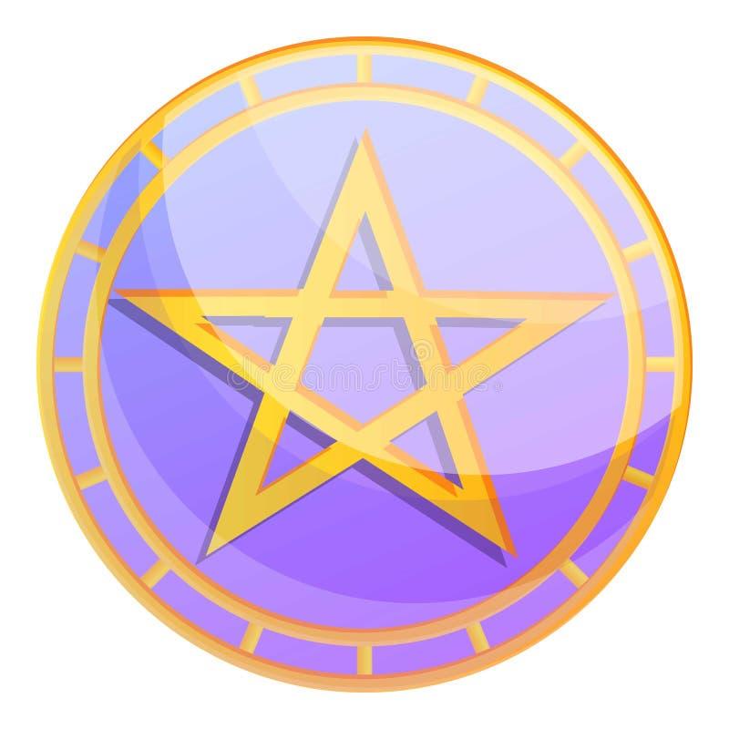 Magic david star icon, cartoon style stock illustration