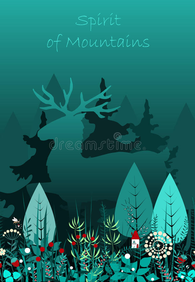 Magic deer walking in the forest. Spirit of the forest. vector illustration