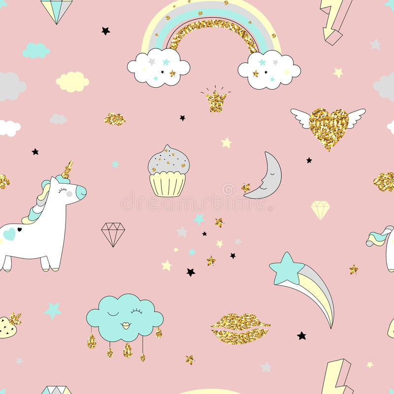 Magic design seamless pattern with unicorn, rainbow, hearts, clouds. And others elements. With golden glitter texture. Vector illustration vector illustration