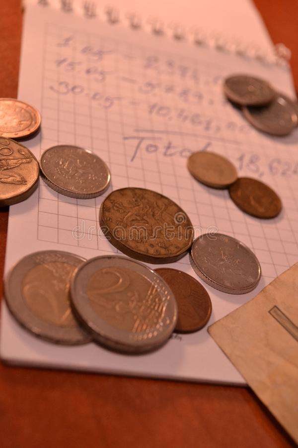 Magic of Digits. Written Ones and Money. The simple macro shooting of the calculations and money of different countries. Ideal for website backgrounds royalty free stock photo