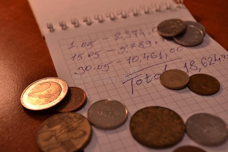 Magic of Digits. Written Ones and Money. The simple macro shooting of the calculations and money of different countries. Ideal for website backgrounds stock images
