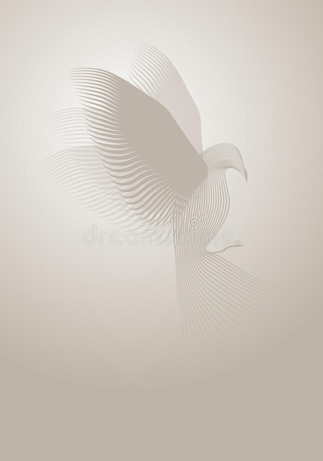 Magic dove made with lines on misty background. stock illustration