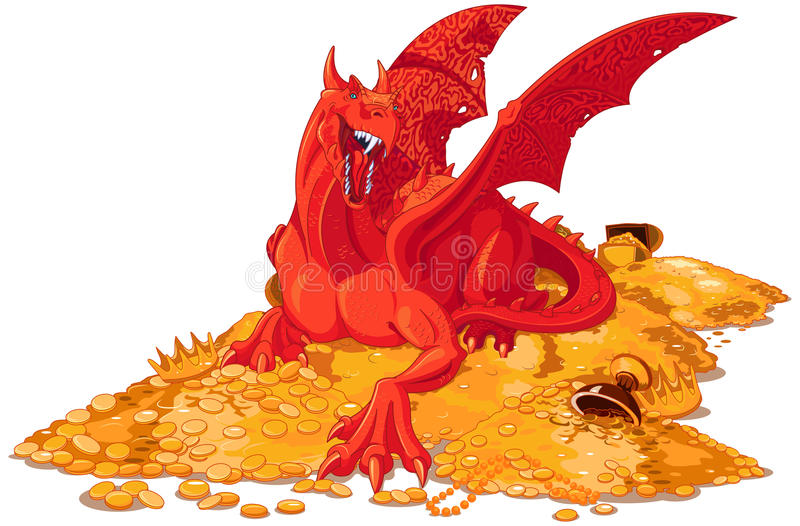 Magic Dragon on the Pile of Gold stock illustration