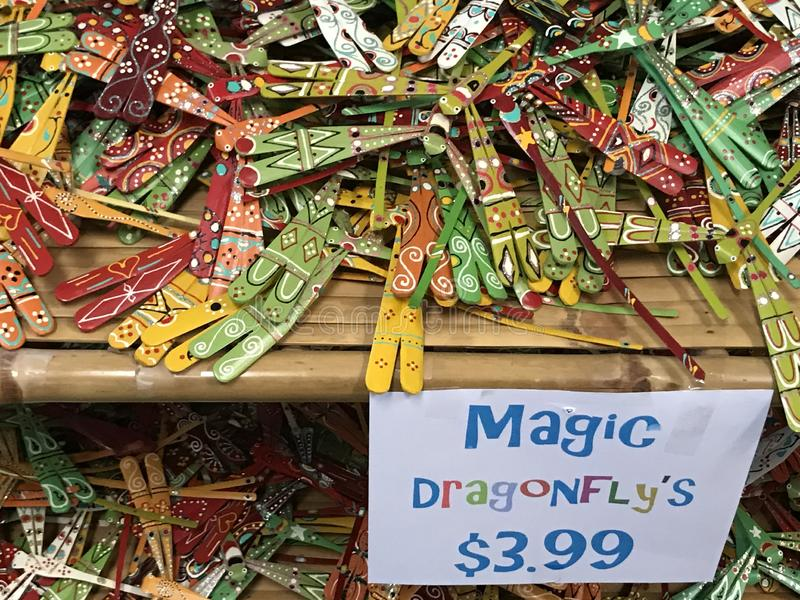Magic Dragonfly`s for Sale in Souvenir Store. In Savannah, Georgia stock images