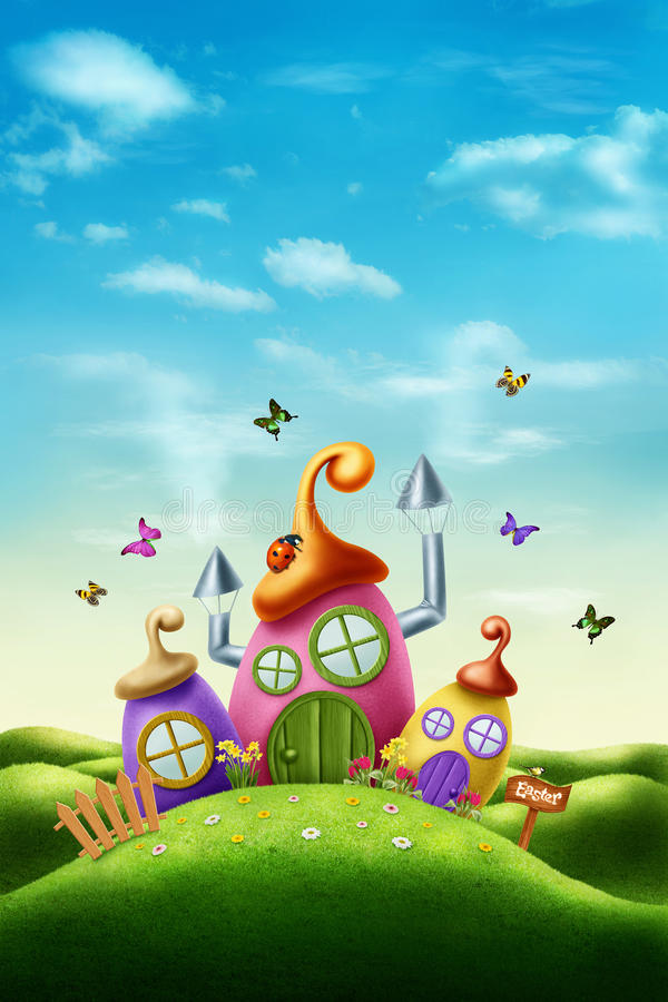 Magic easter house royalty free illustration