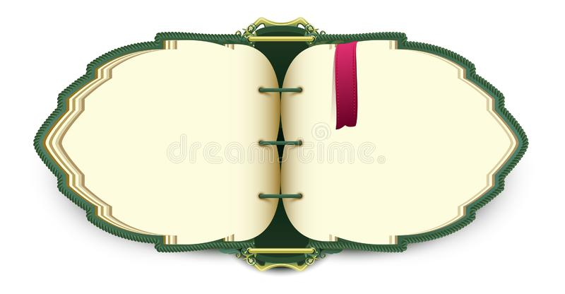 Magic elven open book with red bookmark. Isolated on white vector cartoon illustration vector illustration