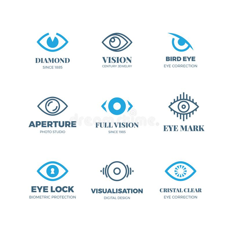 Magic eye logos. Mysterious sight symbols. Vision vector badges. Illustration of eye logo concept, emblem mystical look and seeing royalty free illustration